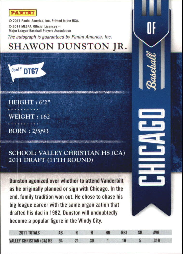 2011 Playoff Contenders Draft Ticket Autographs #DT67 Shawon Dunston Jr. back image