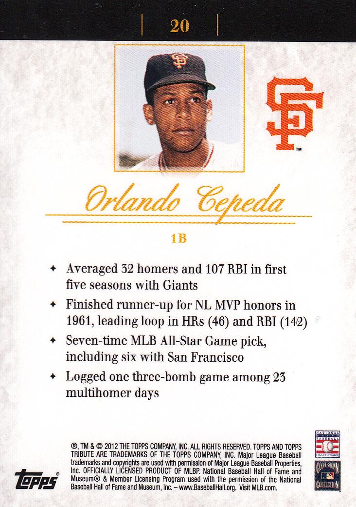 2012 Topps Tribute #20 Orlando Cepeda back image