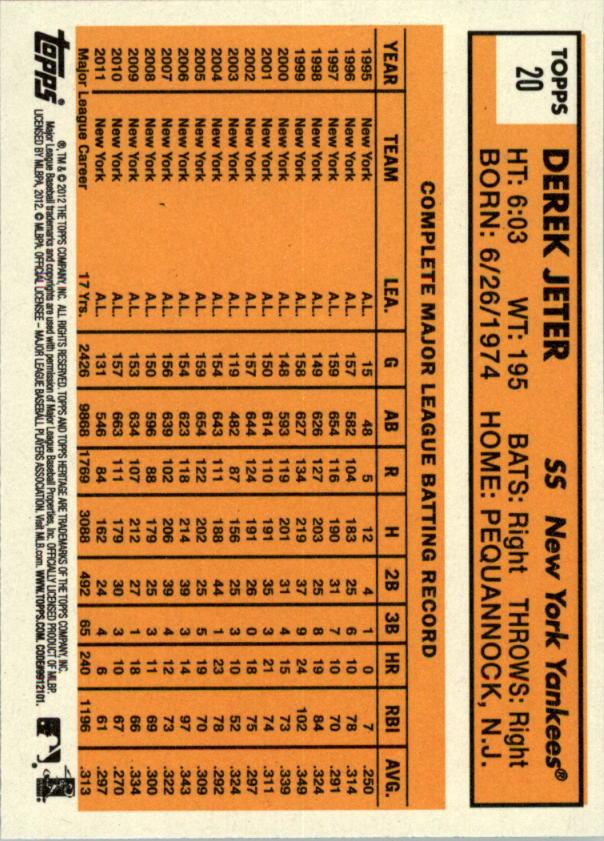 2012 Topps Heritage #20A Derek Jeter back image