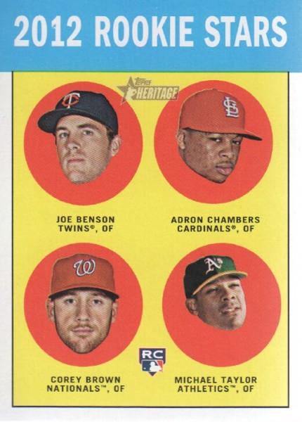 2012 Topps Heritage #95 Joe Benson RC/Adron Chambers RC/Corey Brown RC/Michael Taylor RC
