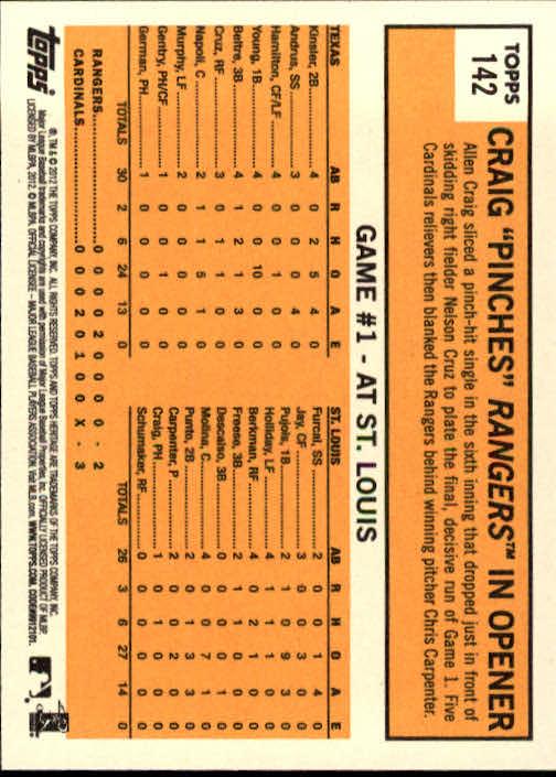 2012 Topps Heritage #142 Allen Craig WS HL back image