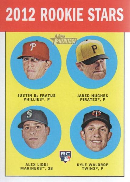 2012 Topps Heritage #274 Justin De Fratus RC/Jared Hughes RC/Alex Liddi RC/Kyle Waldrop (RC)