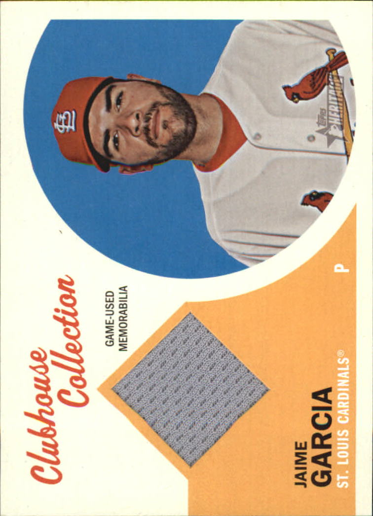 2012 Topps Heritage Clubhouse Collection Relics #JG Jaime Garcia