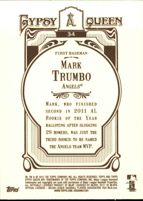 2012 Topps Gypsy Queen #34 Mark Trumbo back image