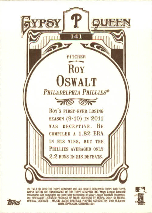 2012 Topps Gypsy Queen #141A Roy Oswalt back image