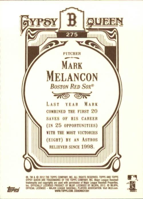 2012 Topps Gypsy Queen #275 Mark Melancon back image