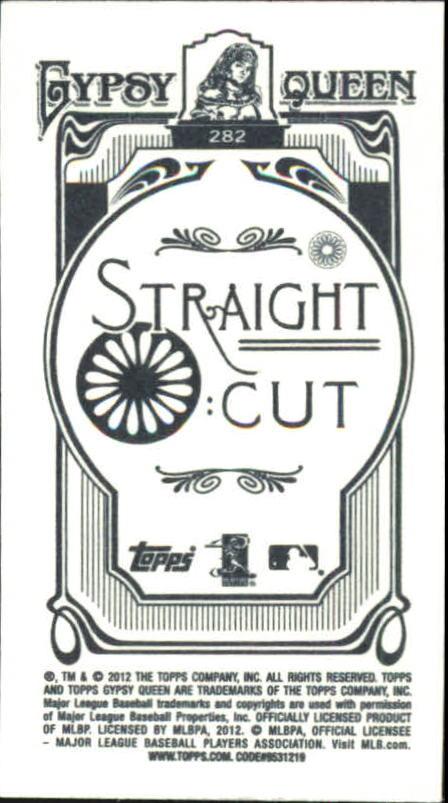 2012 Topps Gypsy Queen Mini Straight Cut Back #282 Jordan Walden back image