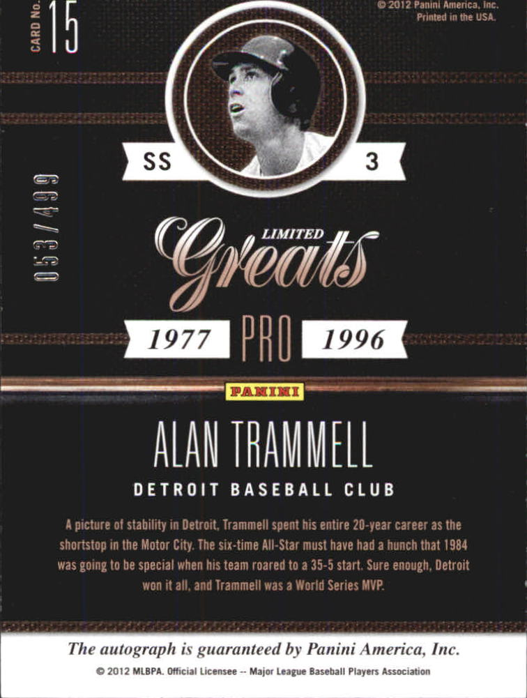 2011 Limited Greats Signatures #15 Alan Trammell/499 back image