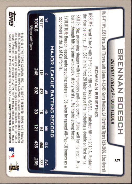 2012 Bowman #5 Brennan Boesch back image