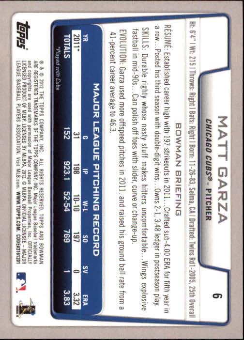 2012 Bowman #6 Matt Garza back image
