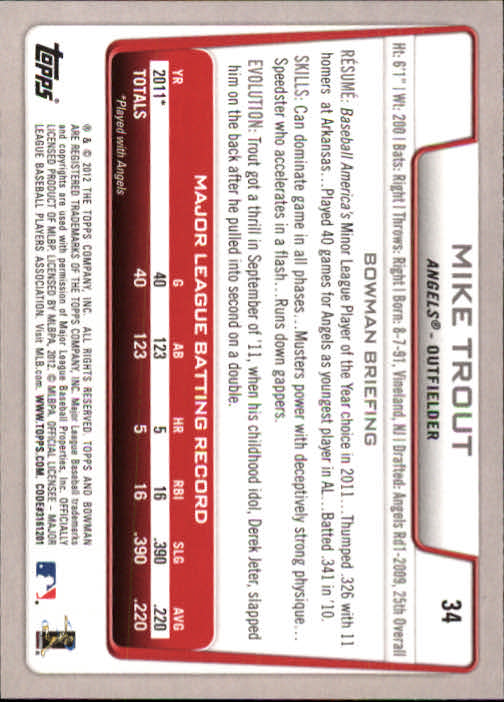 2012 Bowman #34 Mike Trout back image