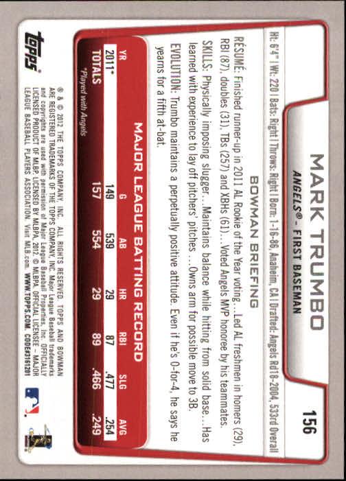2012 Bowman #156 Mark Trumbo back image