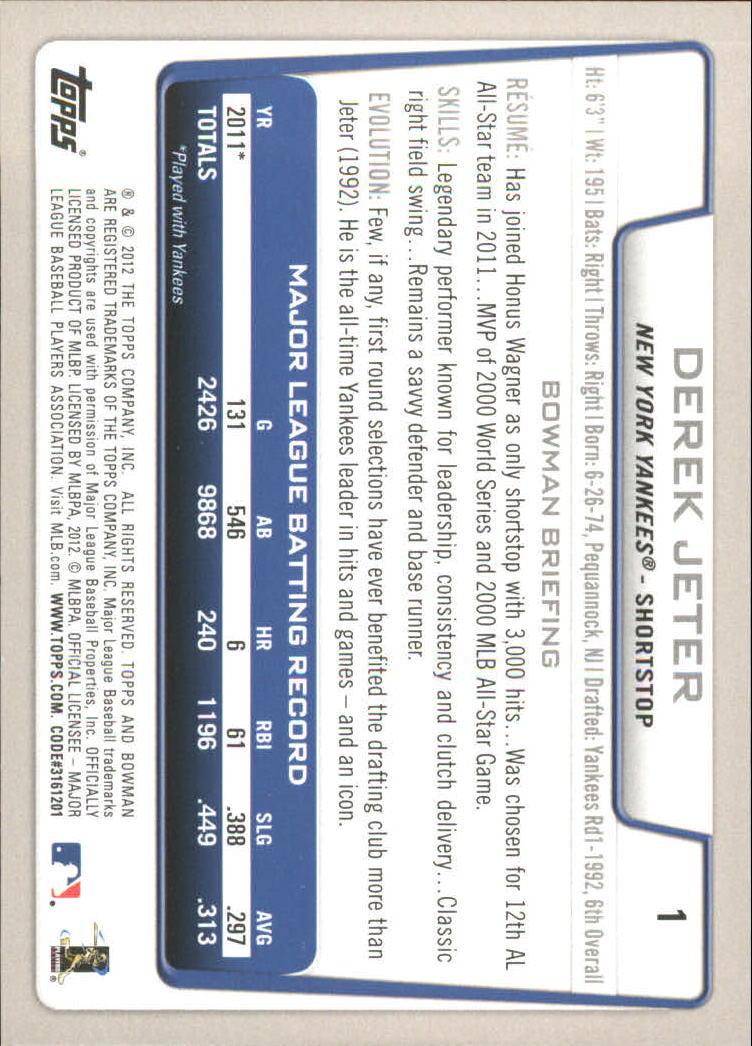 2012 Bowman Gold #1 Derek Jeter back image
