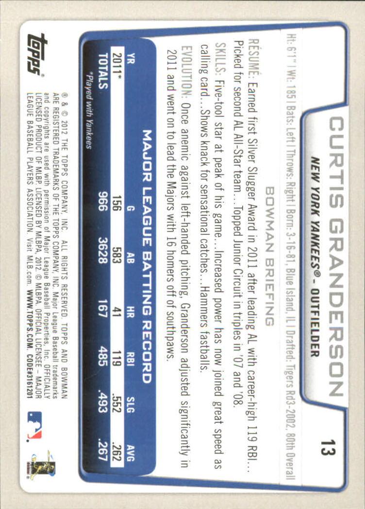 2012 Bowman Gold #13 Curtis Granderson back image