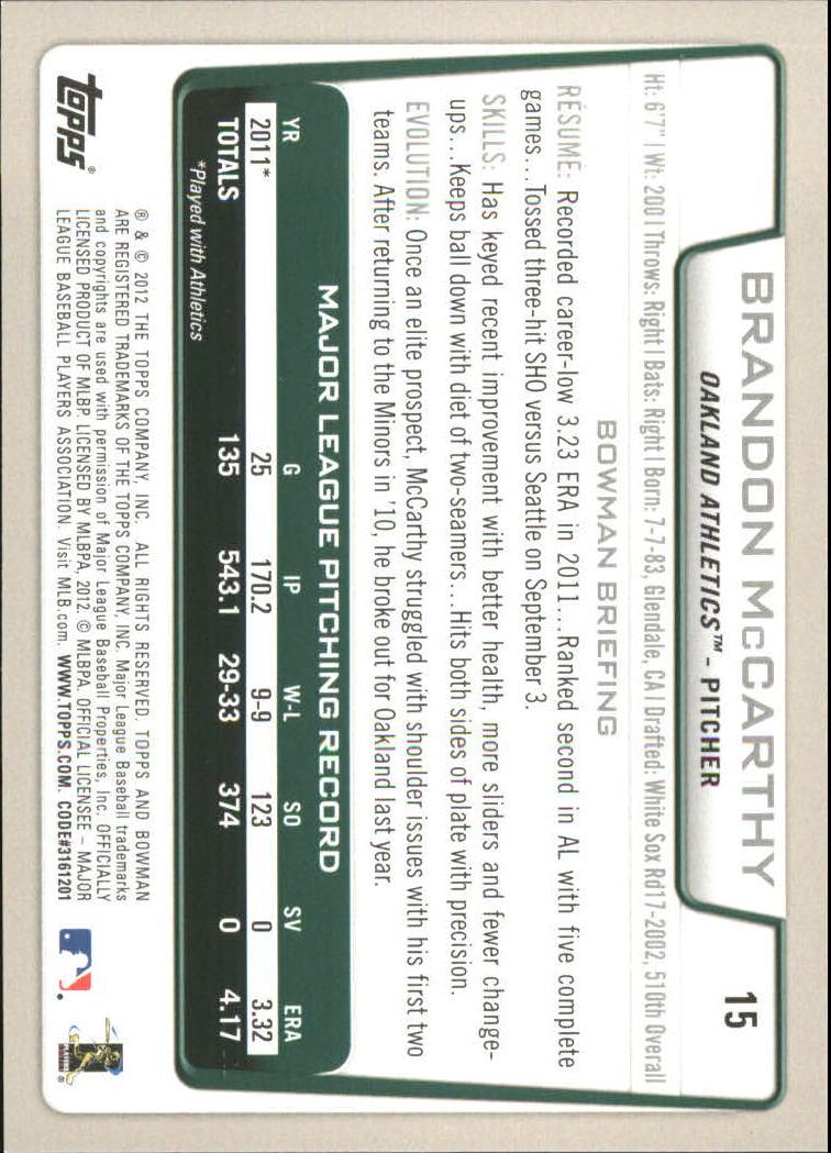 2012 Bowman Gold #15 Brandon McCarthy back image
