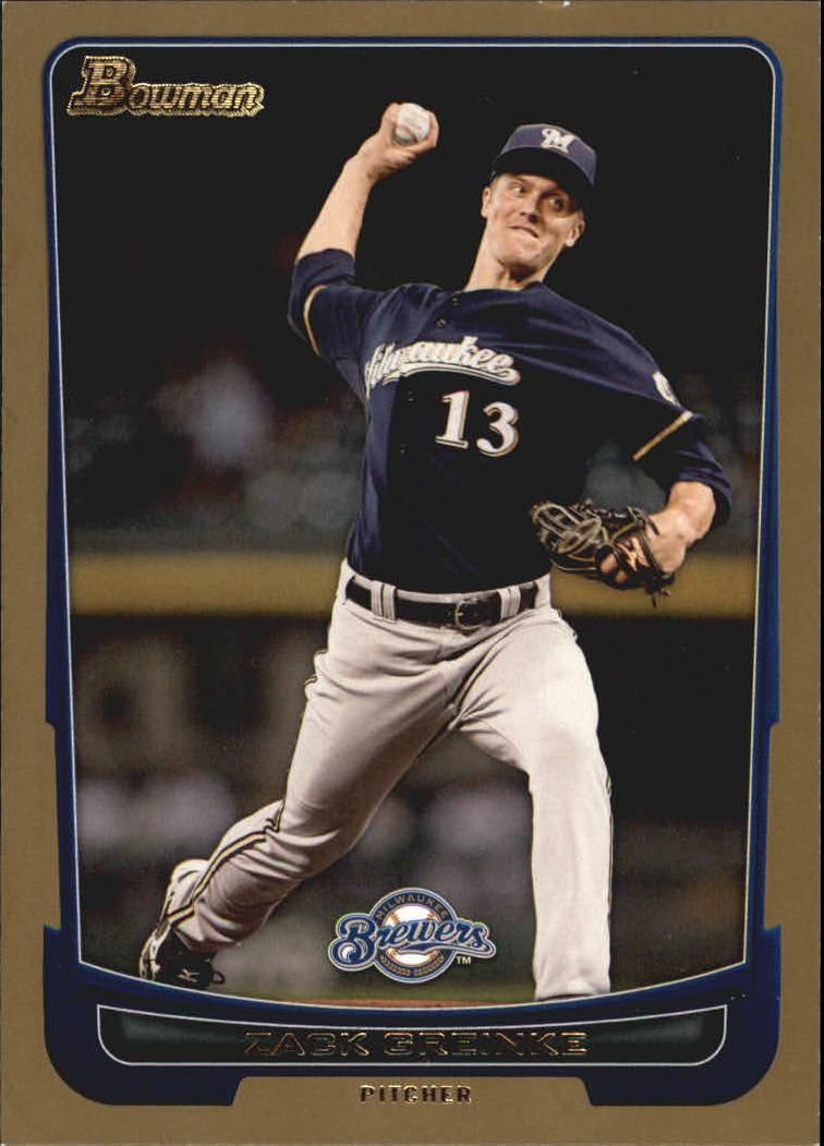 2012 Bowman Gold #48 Zack Greinke