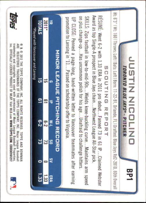 2012 Bowman Prospects #BP1 Justin Nicolino back image