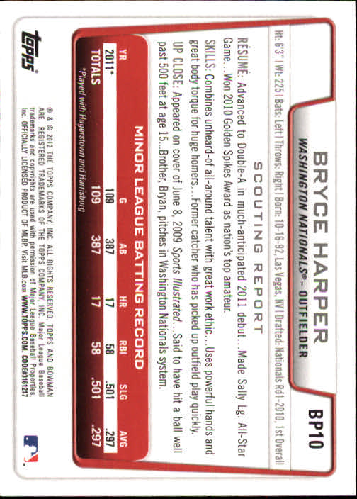 2012 Bowman Prospects #BP10 Bryce Harper back image
