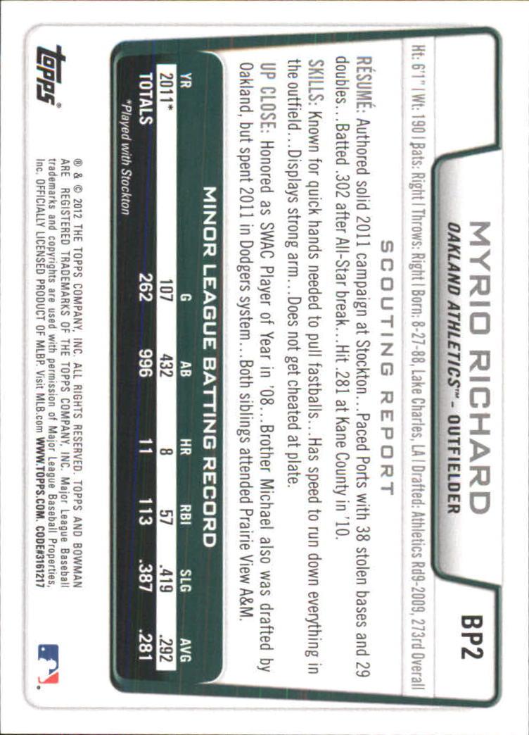 2012 Bowman Prospects Purple #BP2 Myrio Richard back image