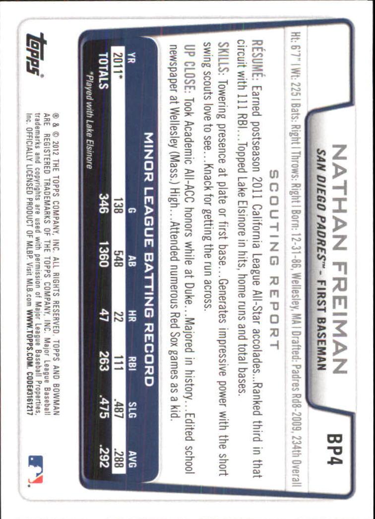 2012 Bowman Prospects Purple #BP4 Nathan Freiman back image