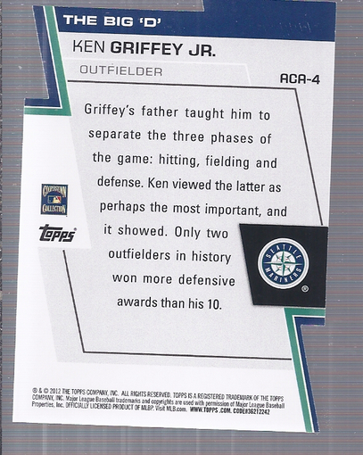 2012 Topps A Cut Above #ACA4 Ken Griffey Jr. back image