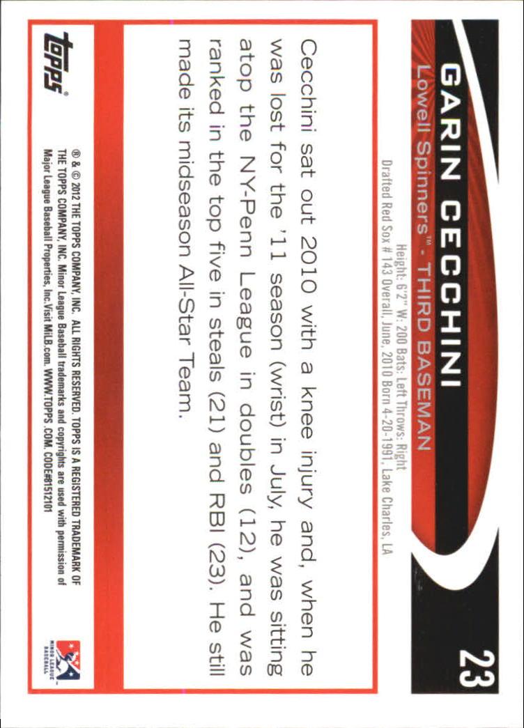 2012 Topps Pro Debut #23 Garin Cecchini back image