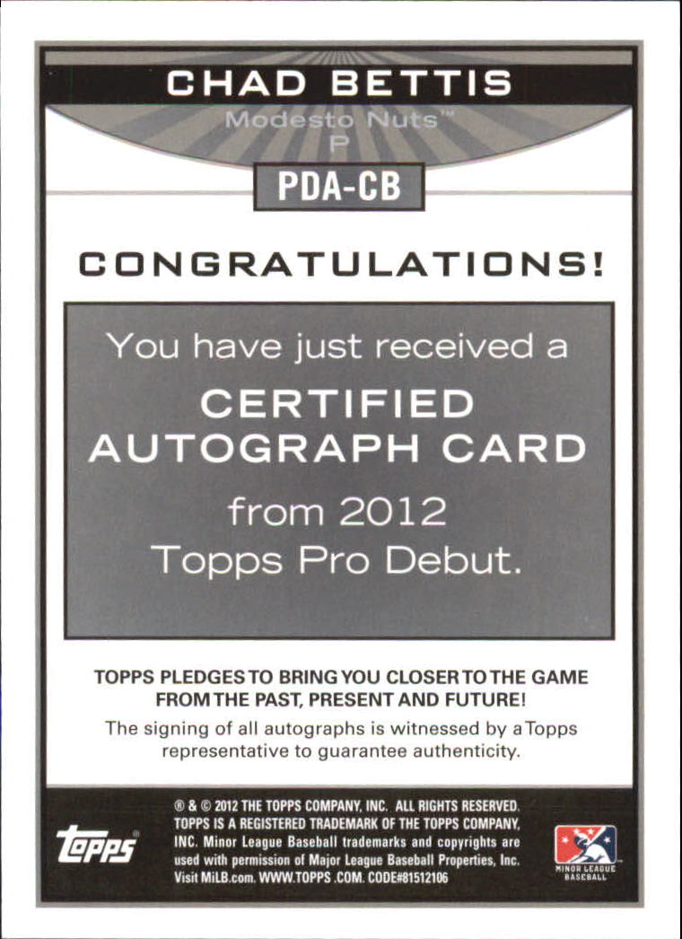 2012 Topps Pro Debut Autographs #CB Chad Bettis back image