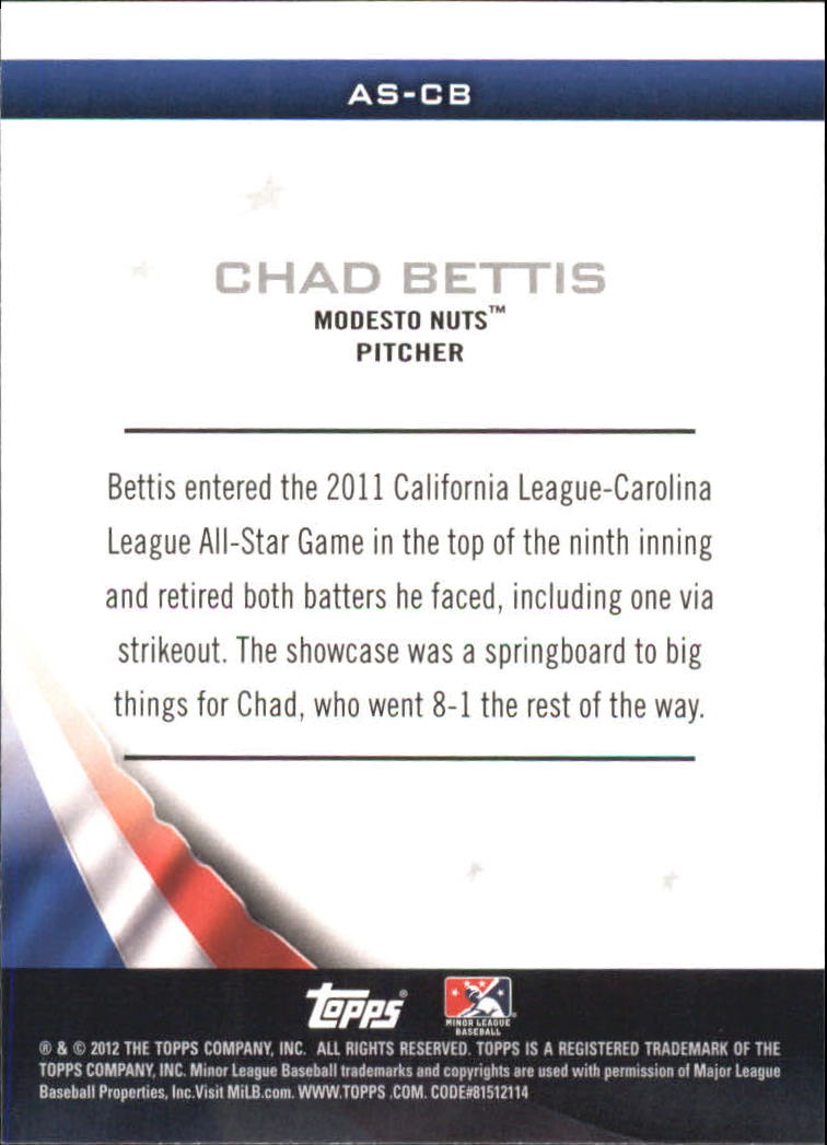 2012 Topps Pro Debut Minor League All-Stars #CB Chad Bettis back image