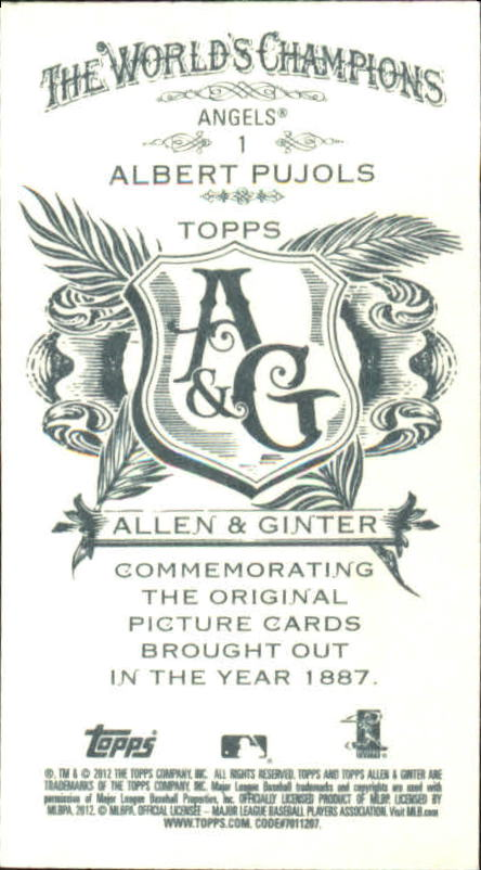 2012 Topps Allen and Ginter #1 Albert Pujols back image