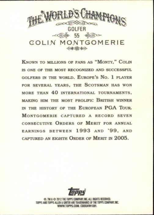 2012 Topps Allen and Ginter #55 Colin Montgomerie back image