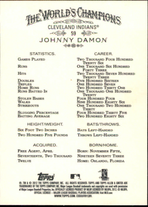 2012 Topps Allen and Ginter #59 Johnny Damon back image