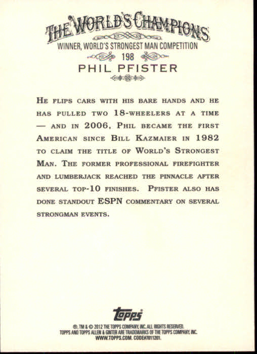 2012 Topps Allen and Ginter #198 Phil Pfister back image