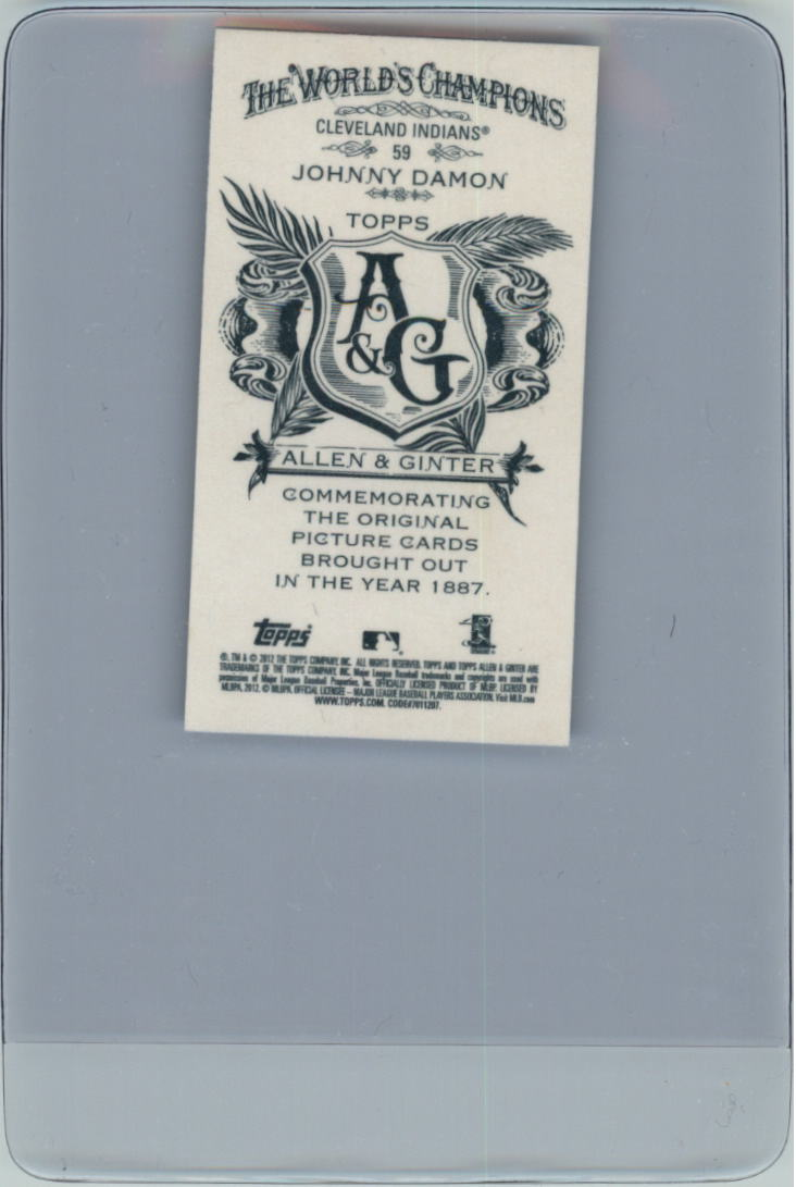 2012 Topps Allen and Ginter Mini A and G Back #59 Johnny Damon back image