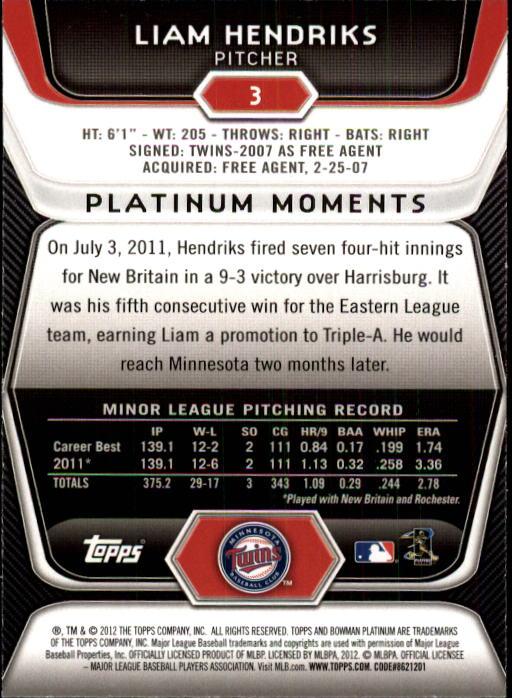 2012 Bowman Platinum #3 Liam Hendriks RC back image