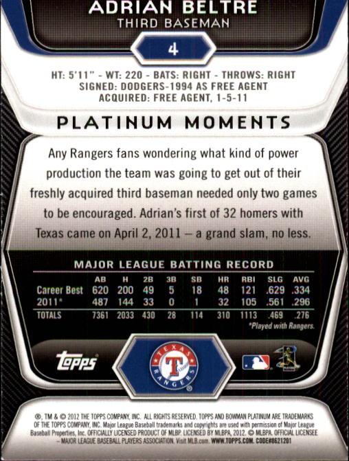 2012 Bowman Platinum #4 Adrian Beltre back image