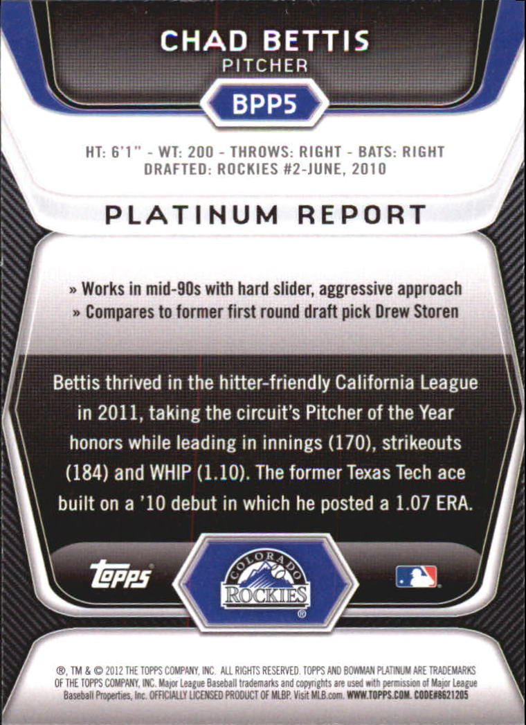 2012 Bowman Platinum Prospects #BPP5 Chad Bettis back image