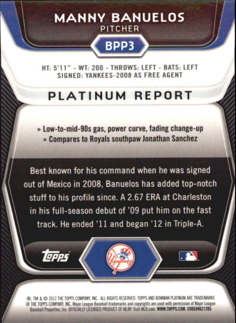 2012 Bowman Platinum Prospects Blue Refractors #BPP3 Manny Banuelos back image