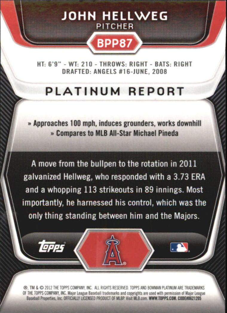2012 Bowman Platinum Prospects Blue Refractors #BPP87 John Hellweg back image