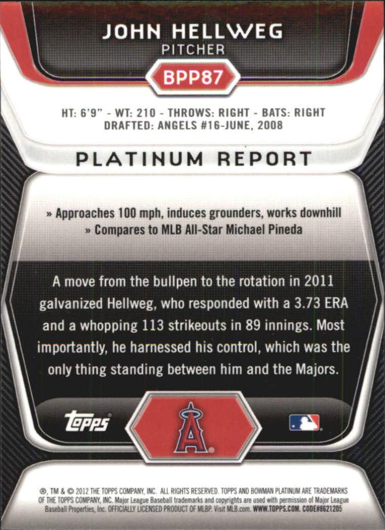 2012 Bowman Platinum Prospects Refractors #BPP87 John Hellweg back image