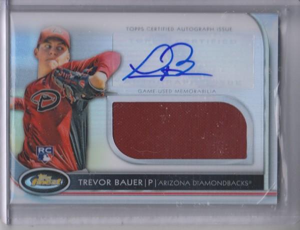 2012 Finest Rookie Jumbo Relic Autographs Refractors #TB Trevor Bauer