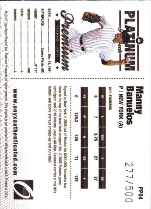 2012 Onyx Platinum Prospects #PP4 Manny Banuelos back image