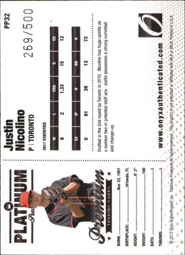 2012 Onyx Platinum Prospects #PP32 Justin Nicolino back image