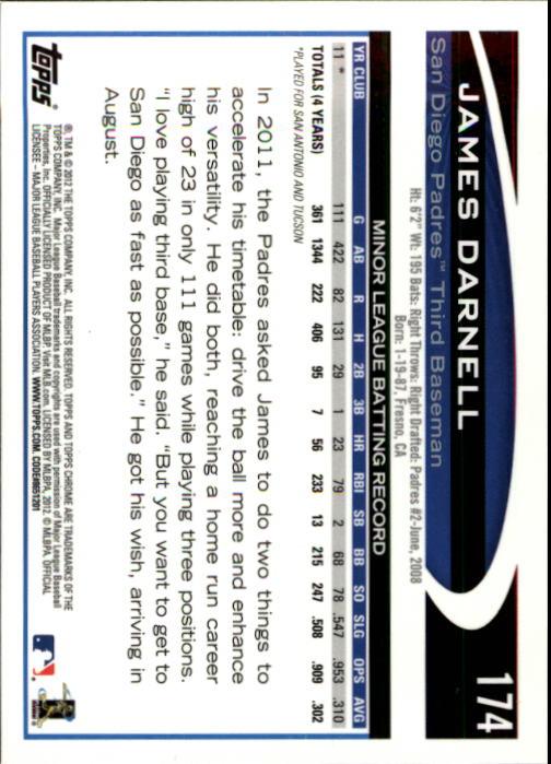 2012 Topps Chrome #174 James Darnell RC back image