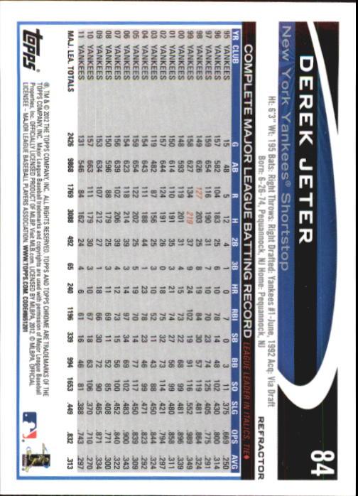 2012 Topps Chrome Refractors #84 Derek Jeter back image