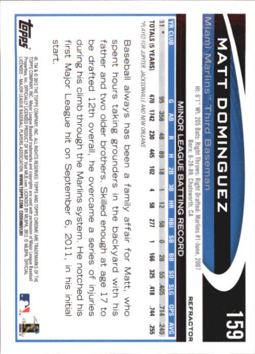 2012 Topps Chrome Refractors #159 Matt Dominguez back image