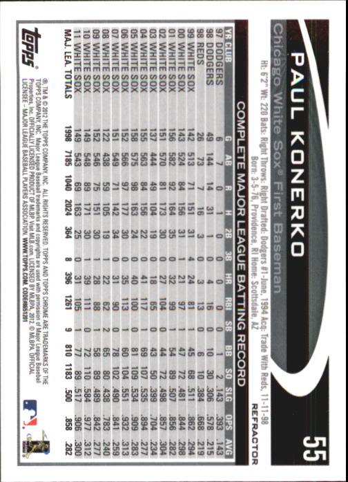 2012 Topps Chrome X-Fractors #55 Paul Konerko back image