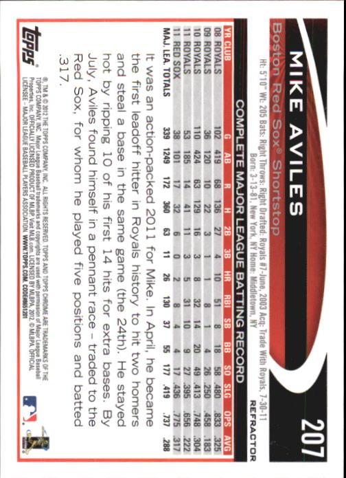 2012 Topps Chrome X-Fractors #207 Mike Aviles back image
