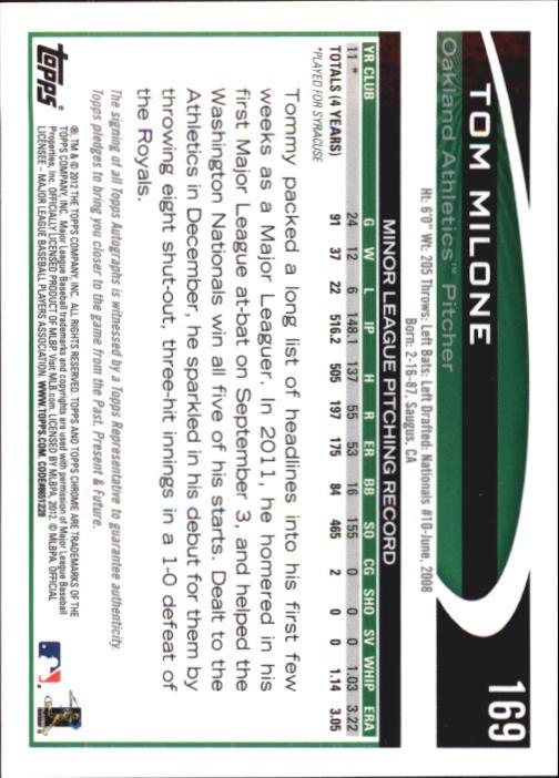 2012 Topps Chrome Rookie Autographs #169 Tom Milone back image