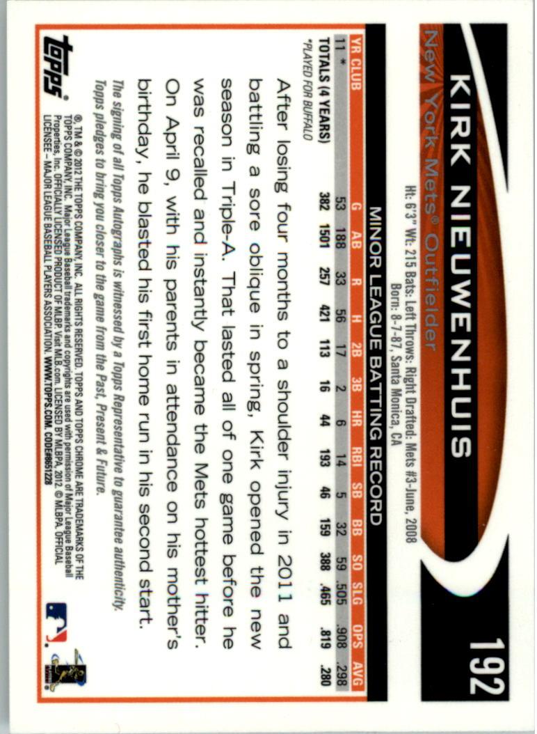 2012 Topps Chrome Rookie Autographs #192 Kirk Nieuwenhuis back image