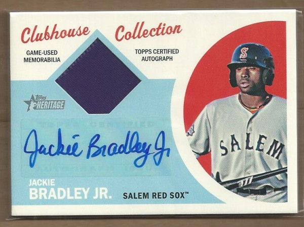 2012 Topps Heritage Minors Clubhouse Collection Patch Autographs #JB Jackie Bradley Jr.